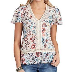 Democracy flutter sleeve boho blouse top Medium